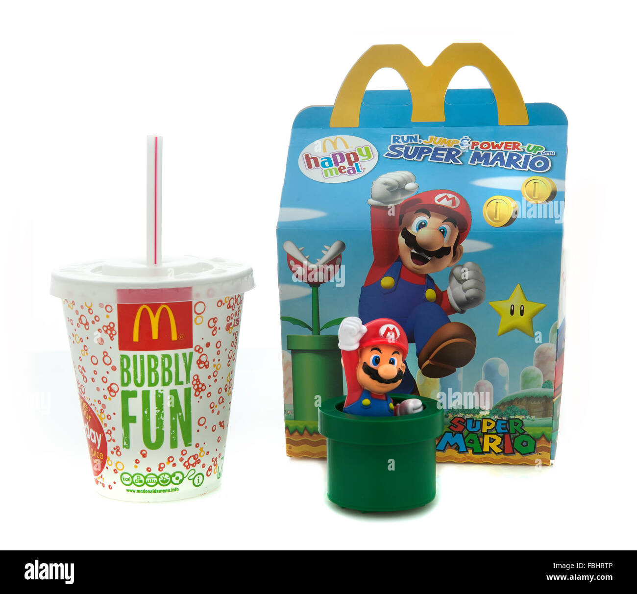 McDonalds Happy Meal on a White background - Stock Image