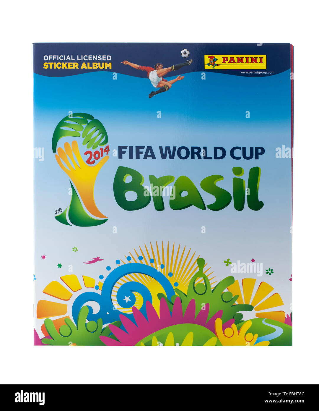 Panini FIFA World Cup 2014 Official  Licensed Sticker Album on a white background - Stock Image