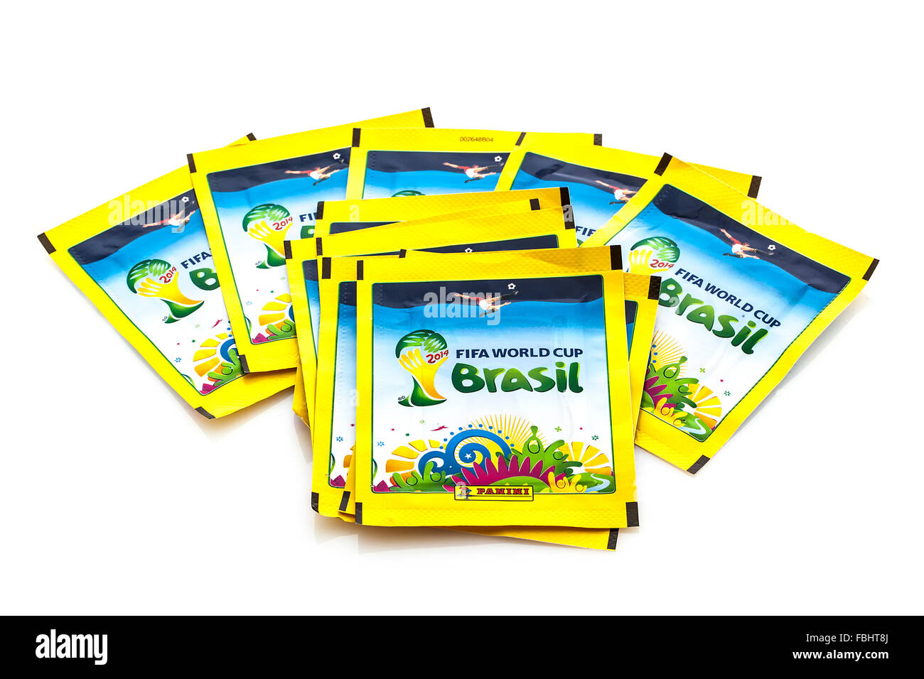 Panini FIFA World Cup 2014 Stickers on a white background - Stock Image