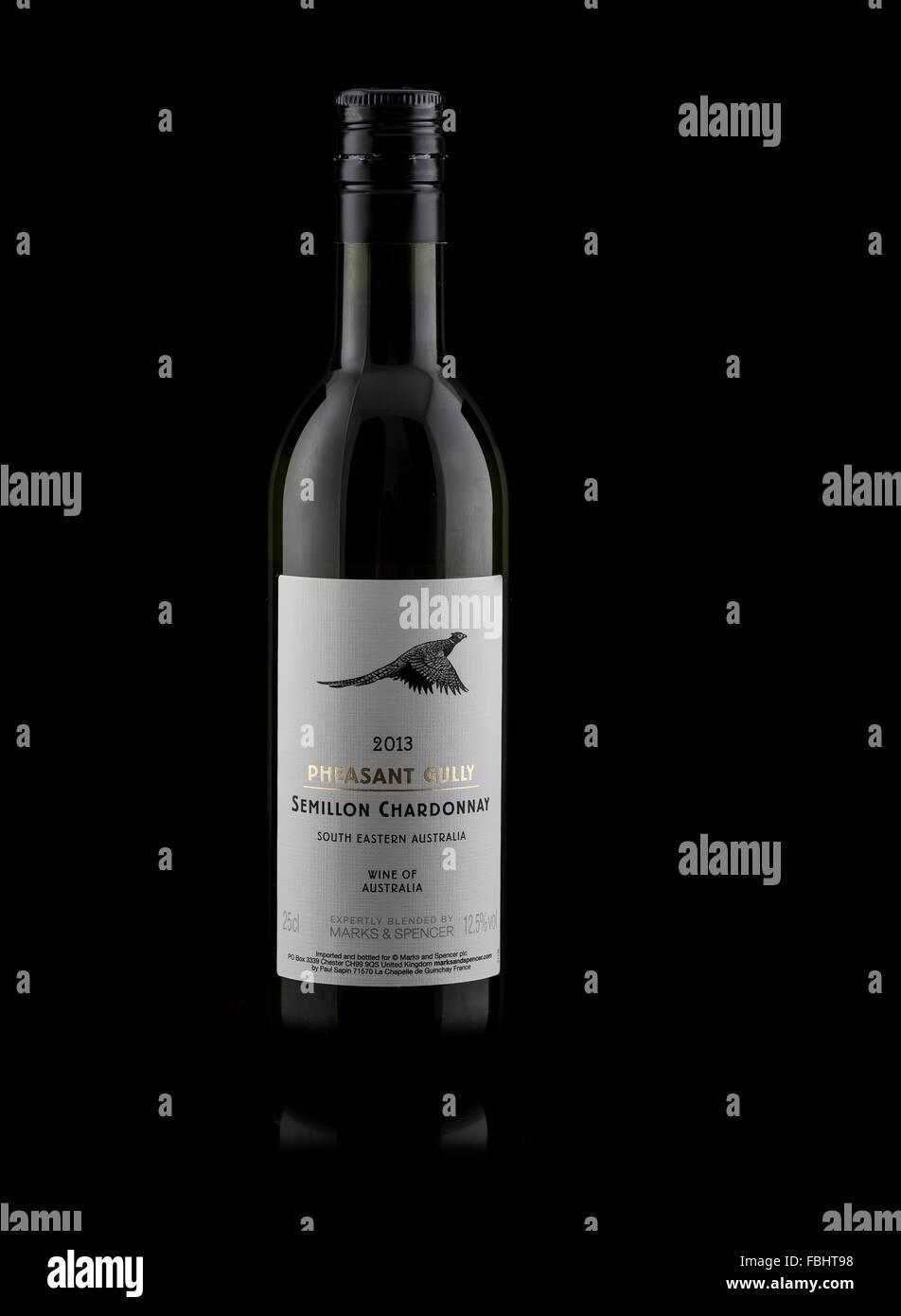 Bottle of Pheasant Gully Semillon Chardonnay Wine from Australia on a Black background - Stock Image