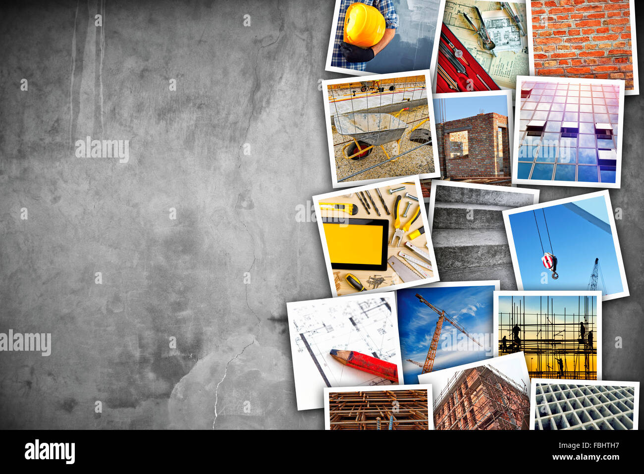 Construction industry themed photo collage with stacked pictures over cement conrete wall texture as copy space. - Stock Image