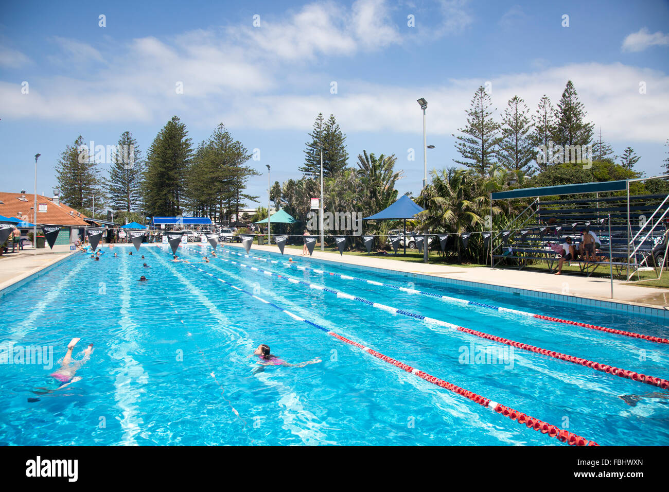 Byron Bay public open air olympic size swimming pool near main Stock