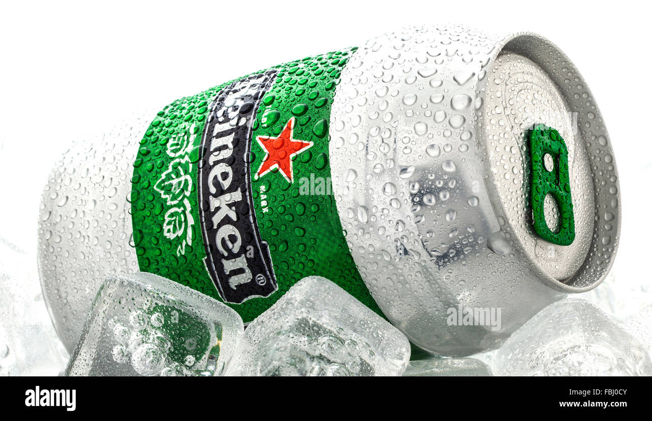 Cold can of Heineken Beer on a white background - Stock Image