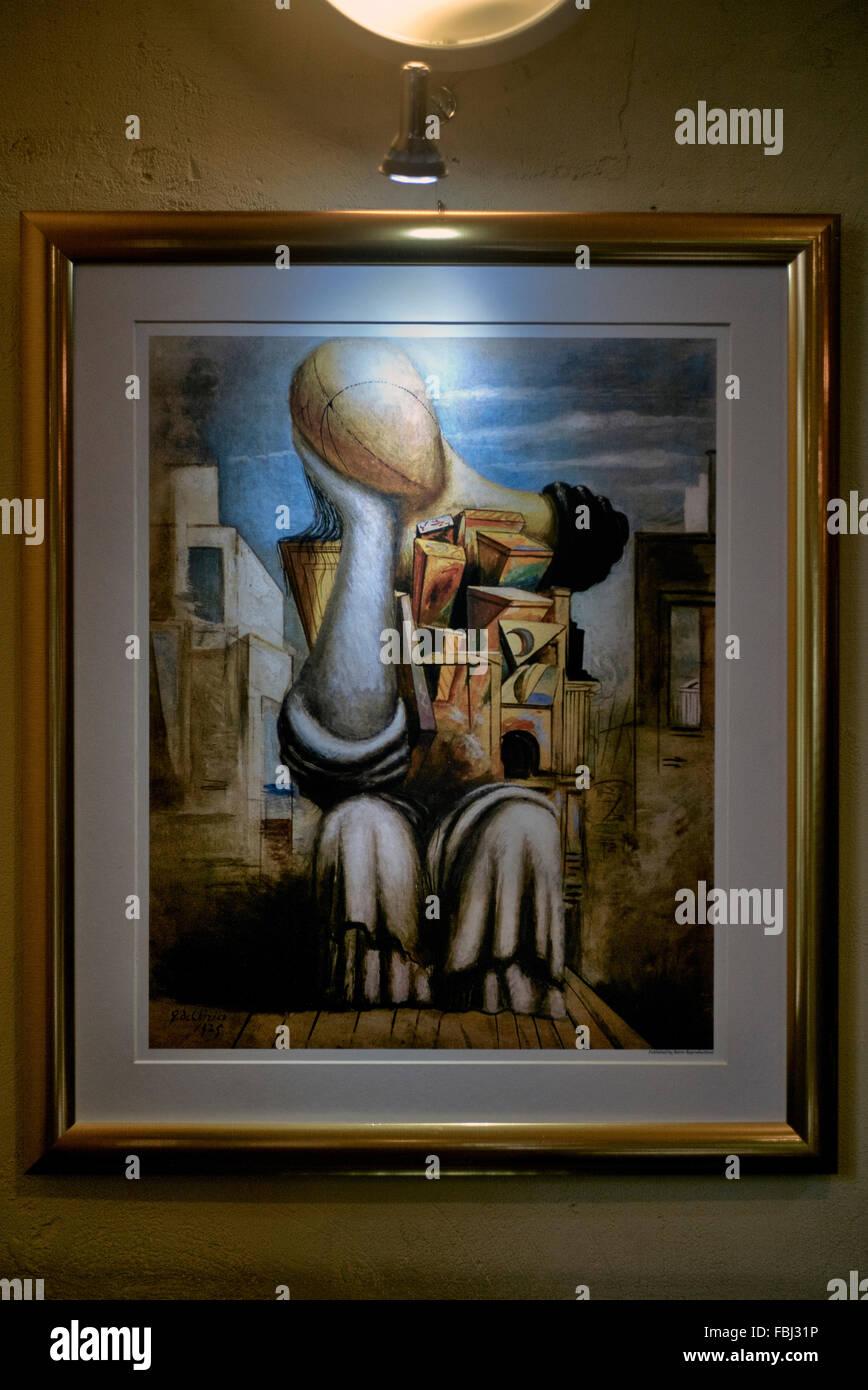 Painting Giorgio De Chirico 'les-jeux-terribles' - Stock Image