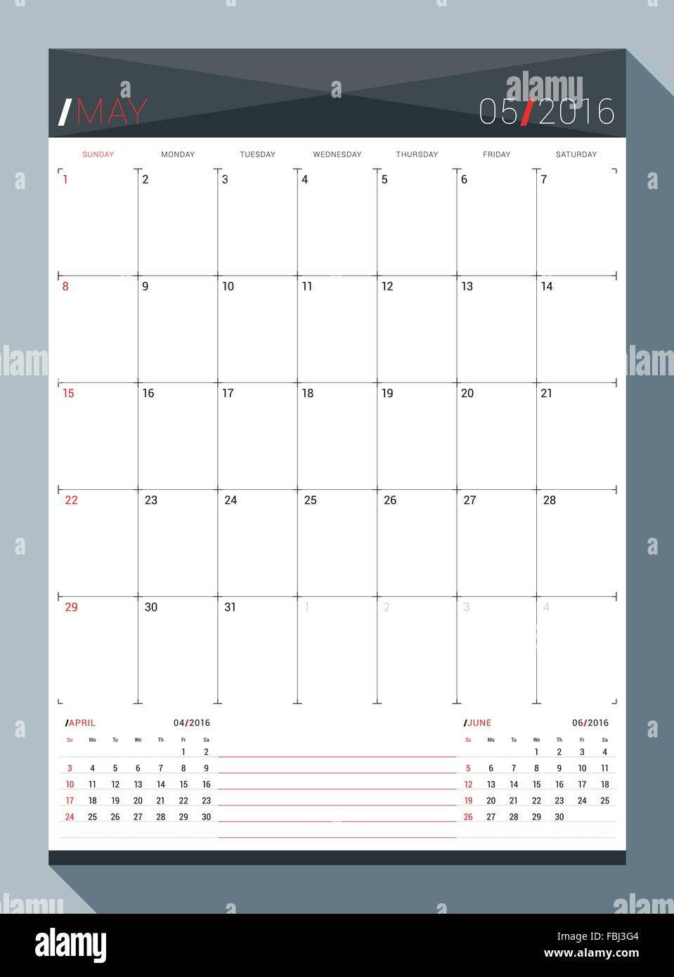 may 2016 vector design print template monthly calendar planner for