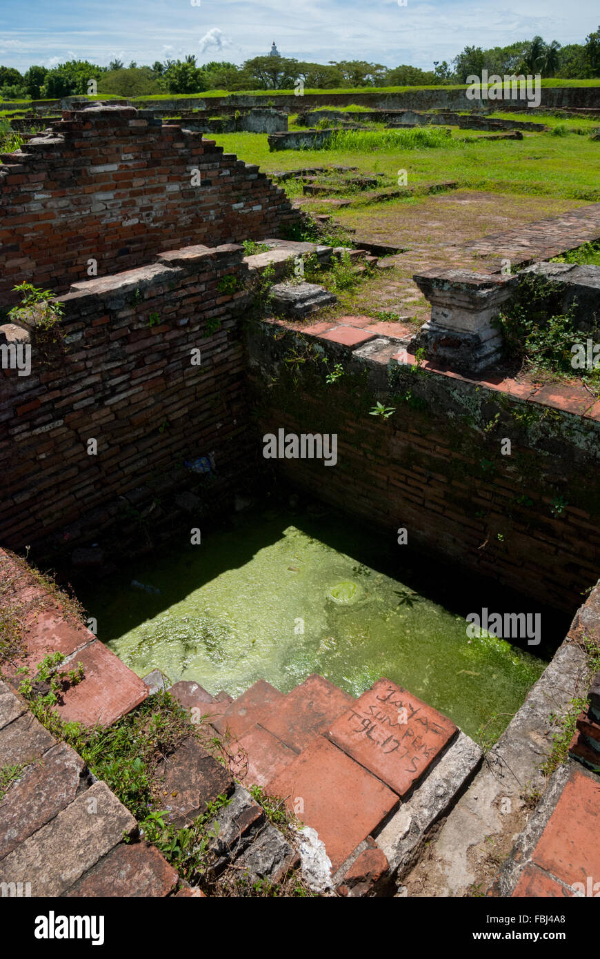 Ruins of old Banten Sultanate royal pond at Surosowan palace complex, Java, Indonesia. - Stock Image