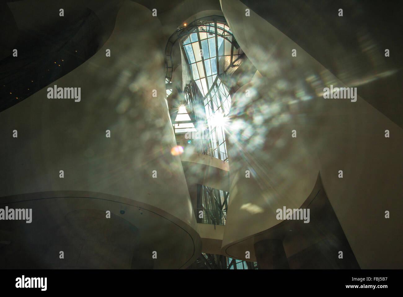 mystical mood in the Guggenheim Museum, Bilbao, Spain, - Stock Image