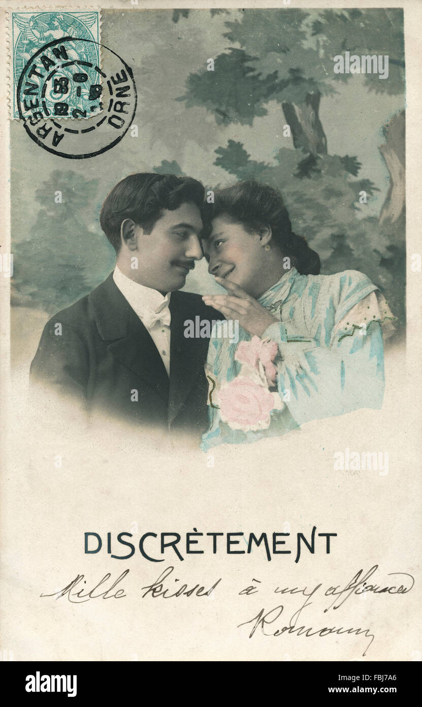 Postcard, historical, couple, in love, secrecy, - Stock Image