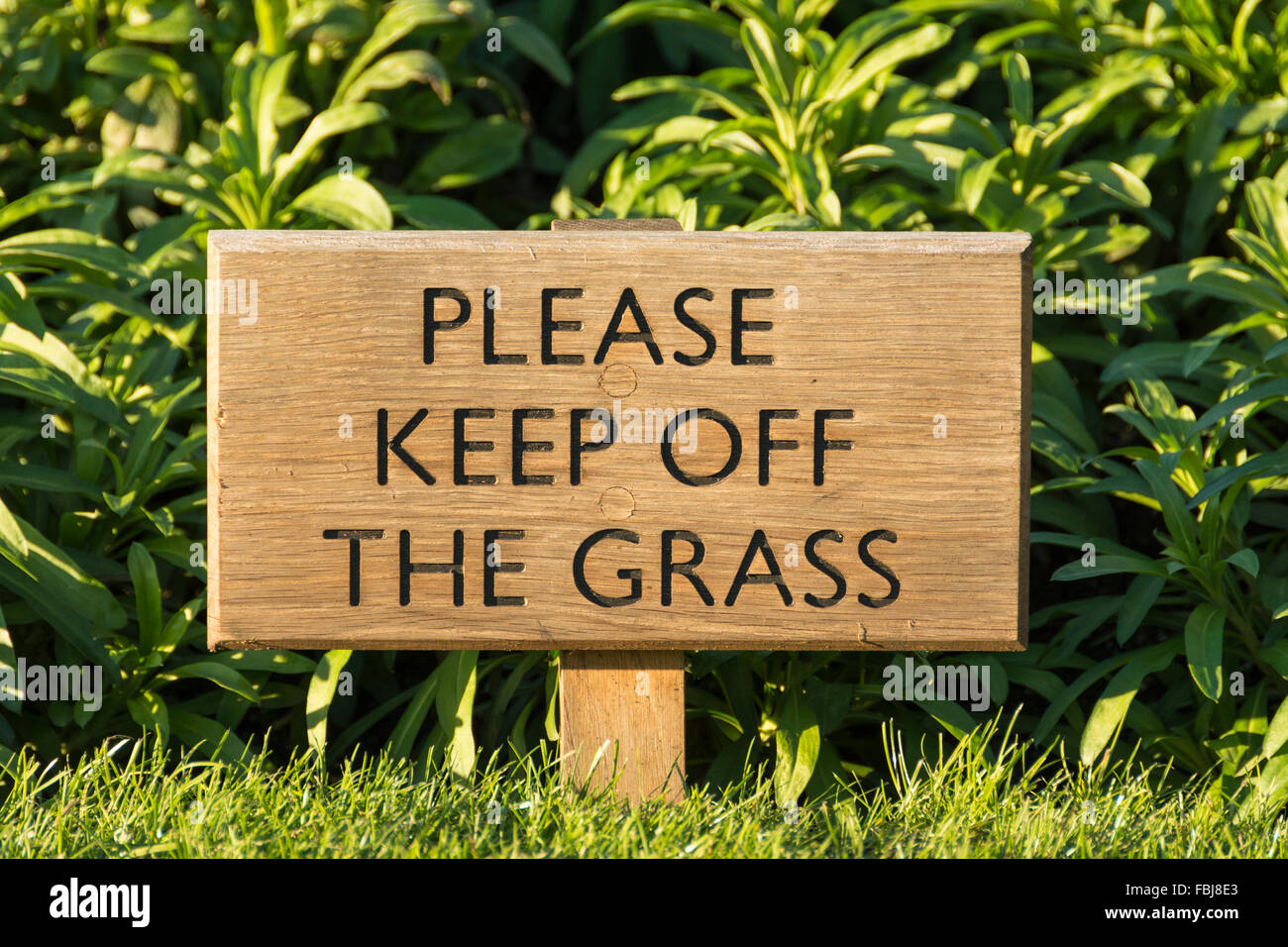 Please keep off the grass sign - Stock Image