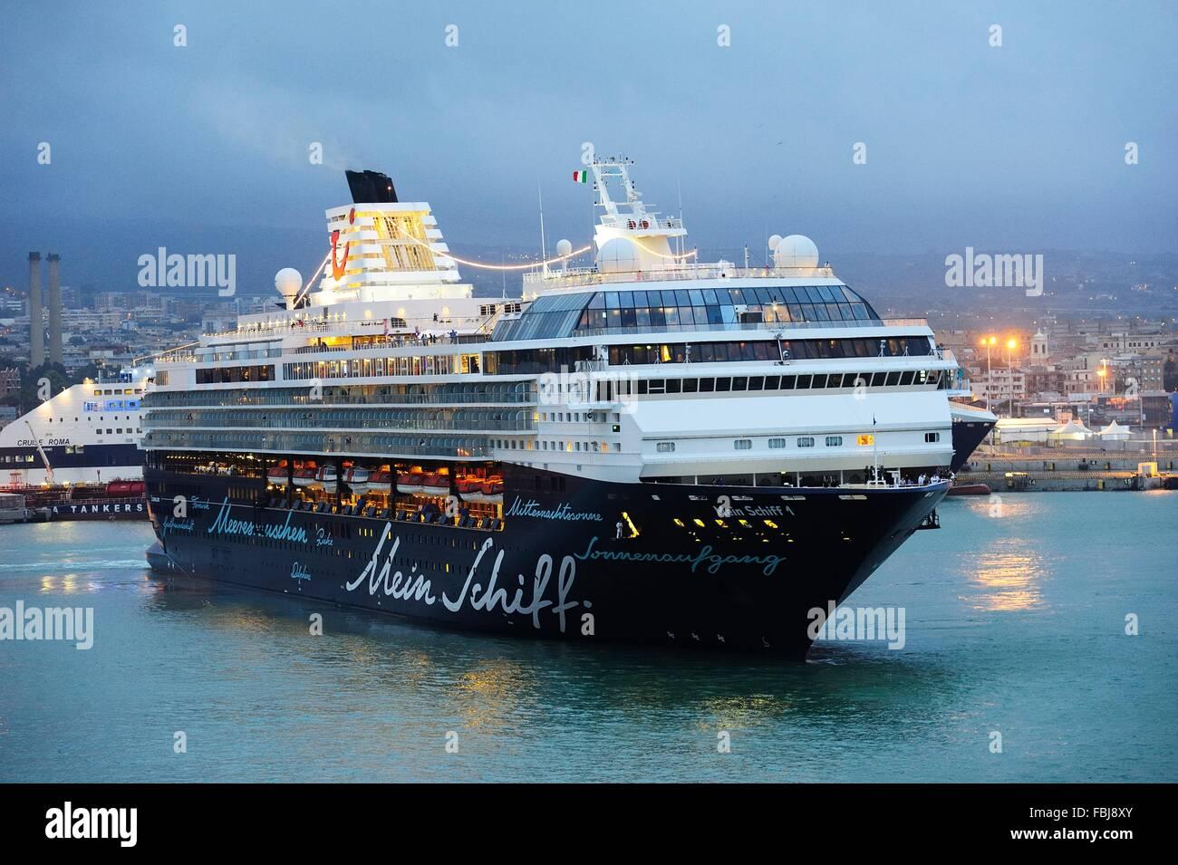 TUI Mein Schiff 1 at night, Civitavecchia in September 15 - Stock Image