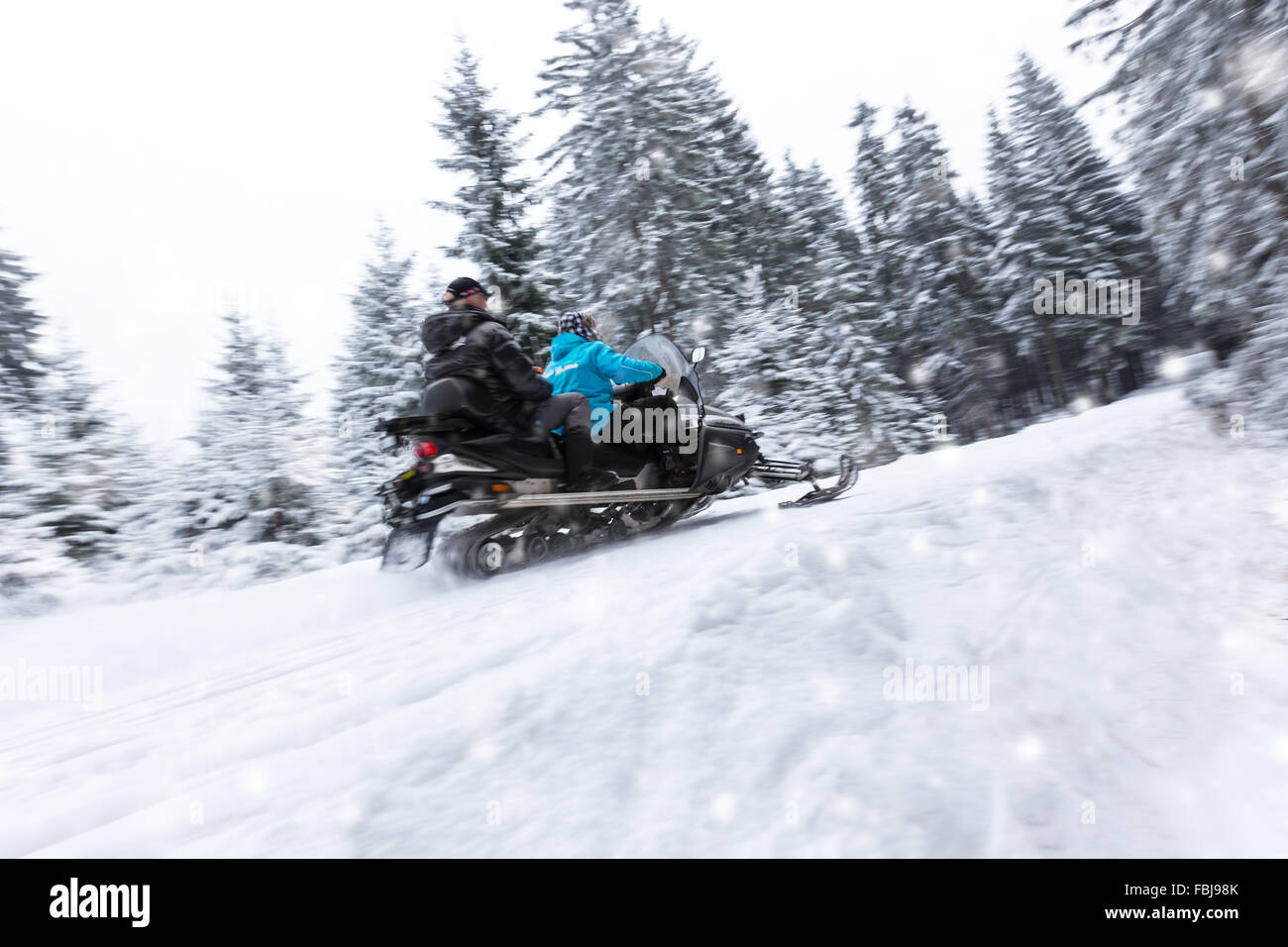Snowmobile on winter forest road - Stock Image