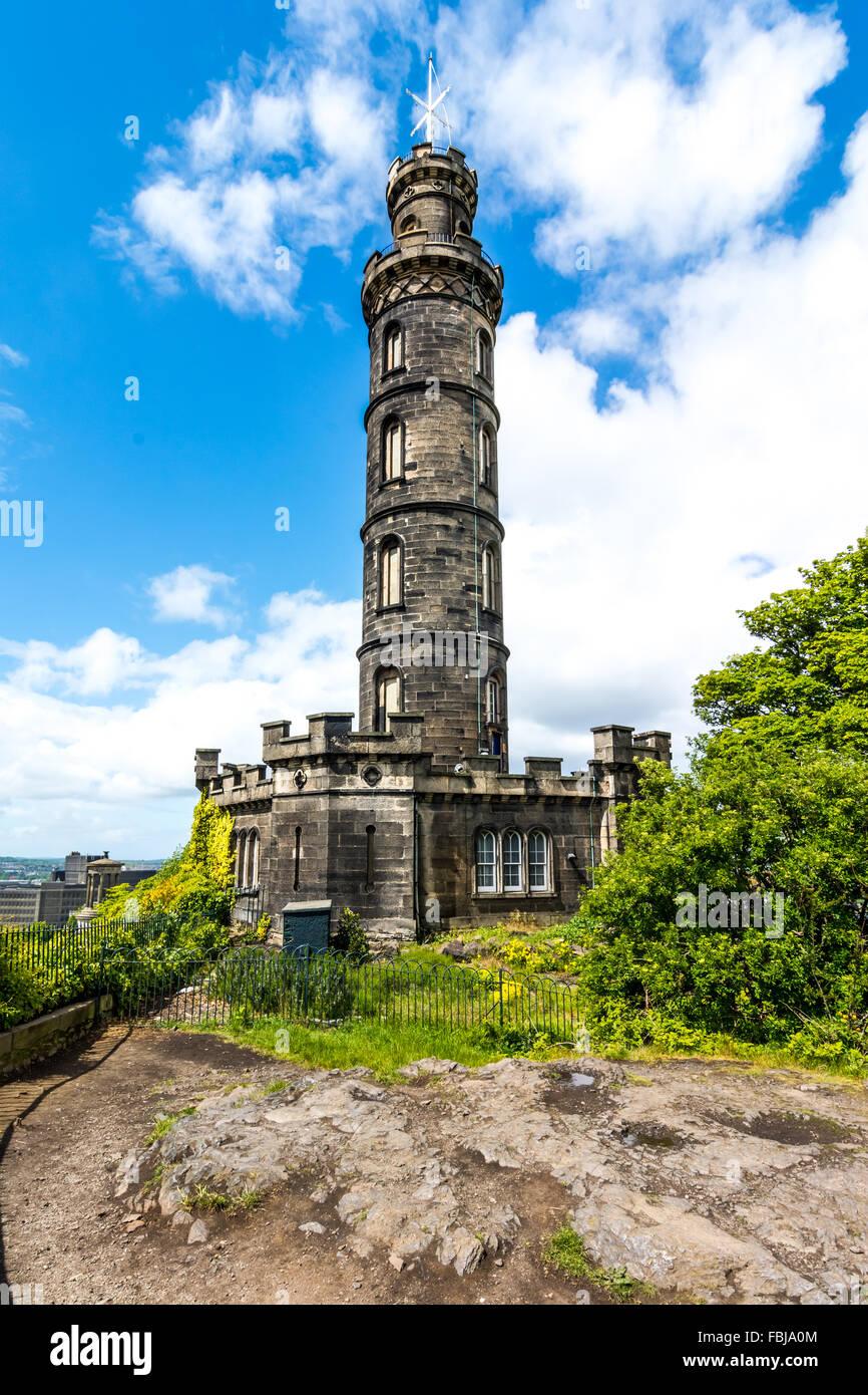 Nelson monument on Calton Hill Edinburgh Stock Photo