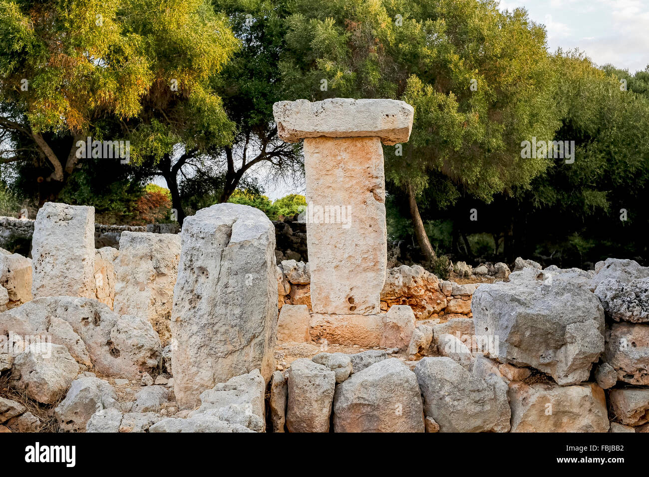 Talayot, prehistorical, cult site near Binisafullet, south coast of the island Menorca, the Balearic Islands, Spain - Stock Image