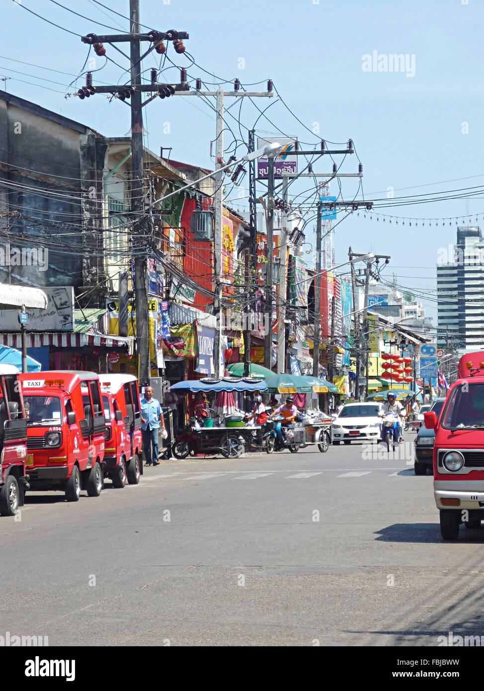 Sunshades For Trucks >> Street, power poles, power lines, cars, Phuket Town, Thailand, Asia Stock Photo: 93217541 - Alamy