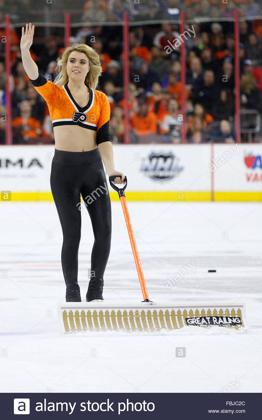january 16 2016 philadelphia flyers ice girls in action during the nhl game between the new york rangers and philadelphia flyers at well fargo center in