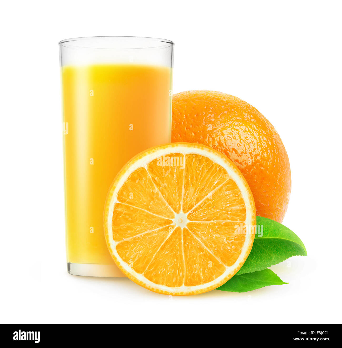 Orange juice isolated on white with clipping path - Stock Image