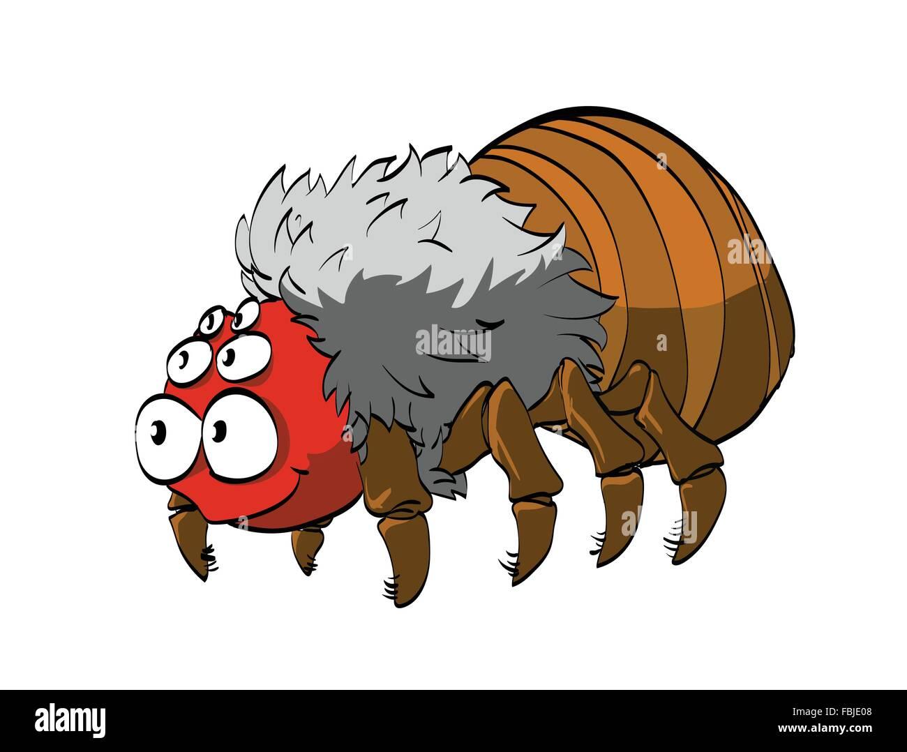 Cute cartoon friendly tarantula or hairy spider - Stock Image