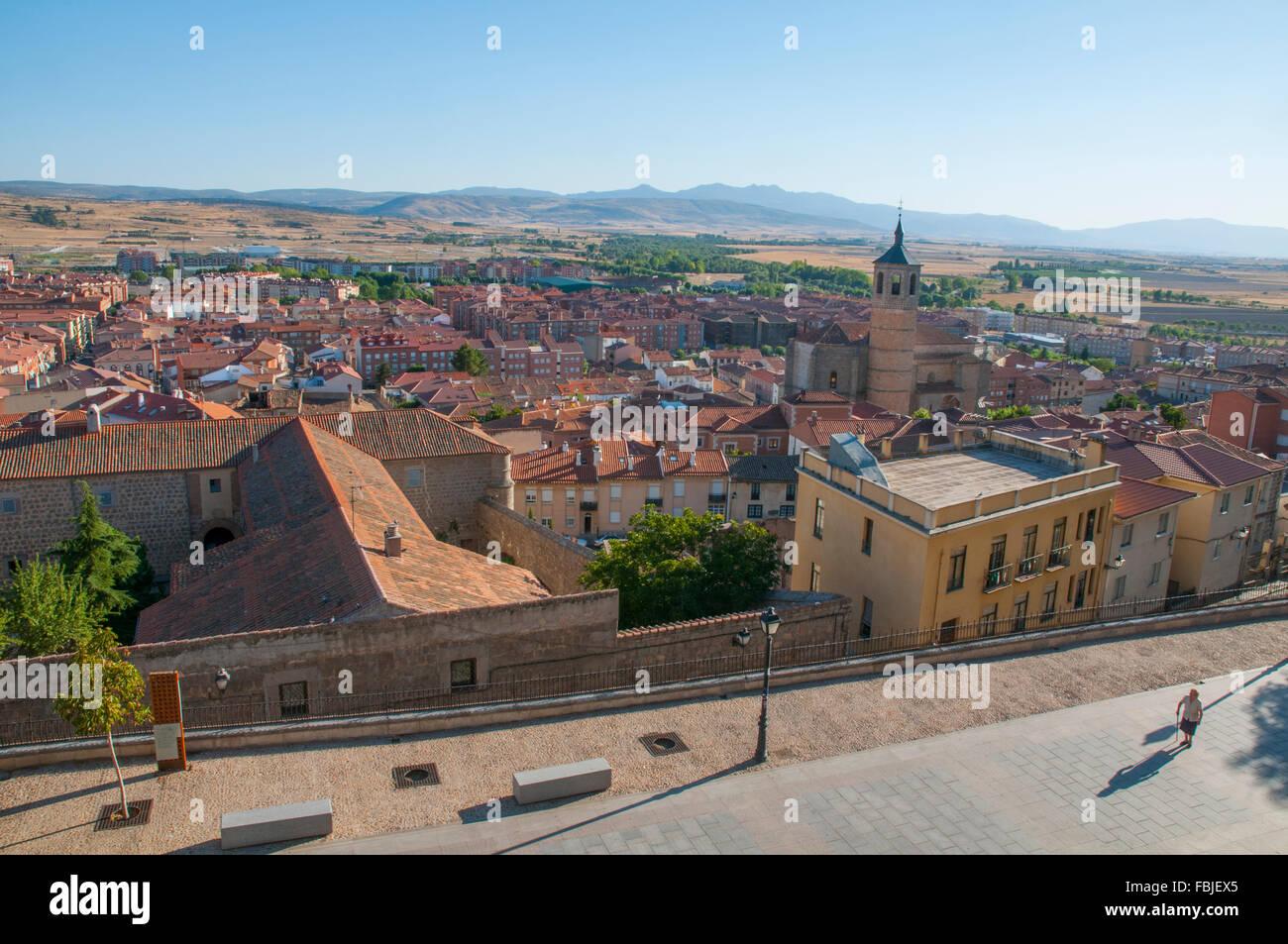 View from the city walls. Paseo del Rastro, Avila, Castilla Leon, Spain. - Stock Image