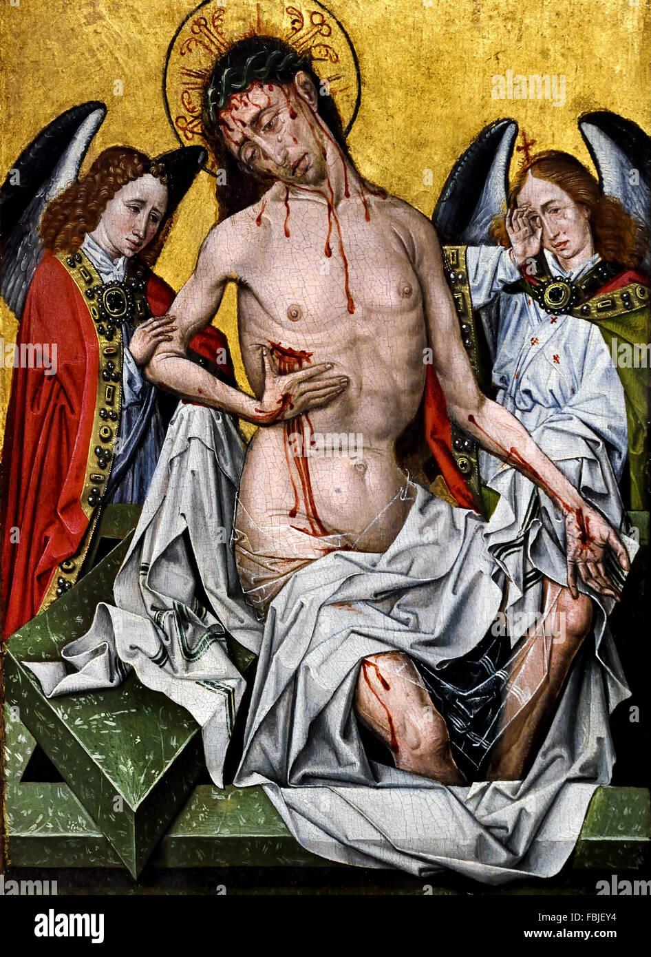 Entourage of Master of Flémalle - Man of sorrows c. 1430 Flemish Belgian Belgium ( Master of Flémalle - Stock Image