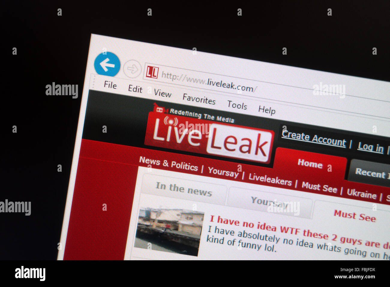 live leak website - Stock Image