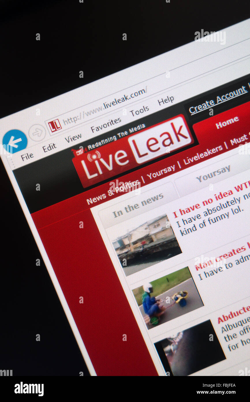 liveleak website live leak - Stock Image