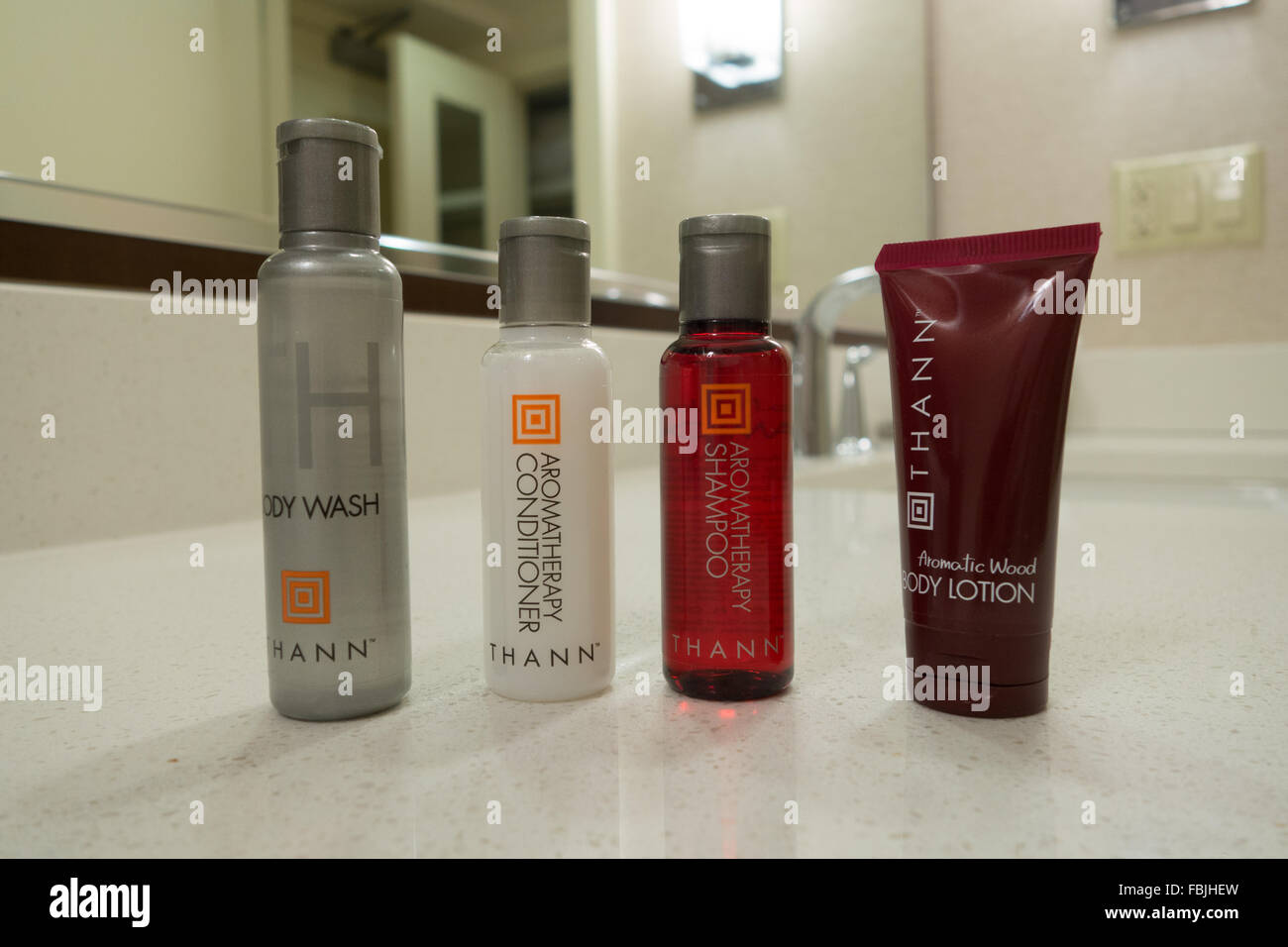Hotel Guest Toiletries travel size Shampoo Conditioner Lotion Body Wash - Stock Image