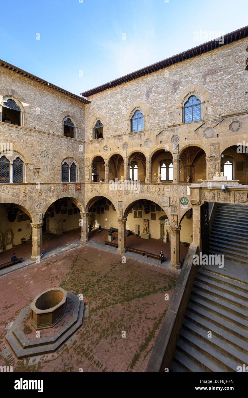 Florence. Italy. Inner courtyard of the Museo Nazionale del Bargello. - Stock Image