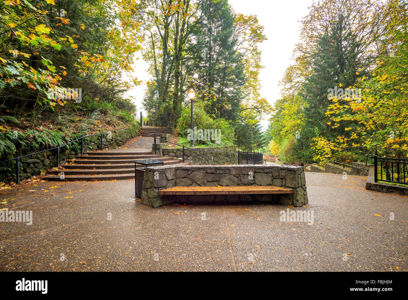 Pleasant Fancy Stone And Wood Bench At An Oregon State Park Stock Gmtry Best Dining Table And Chair Ideas Images Gmtryco