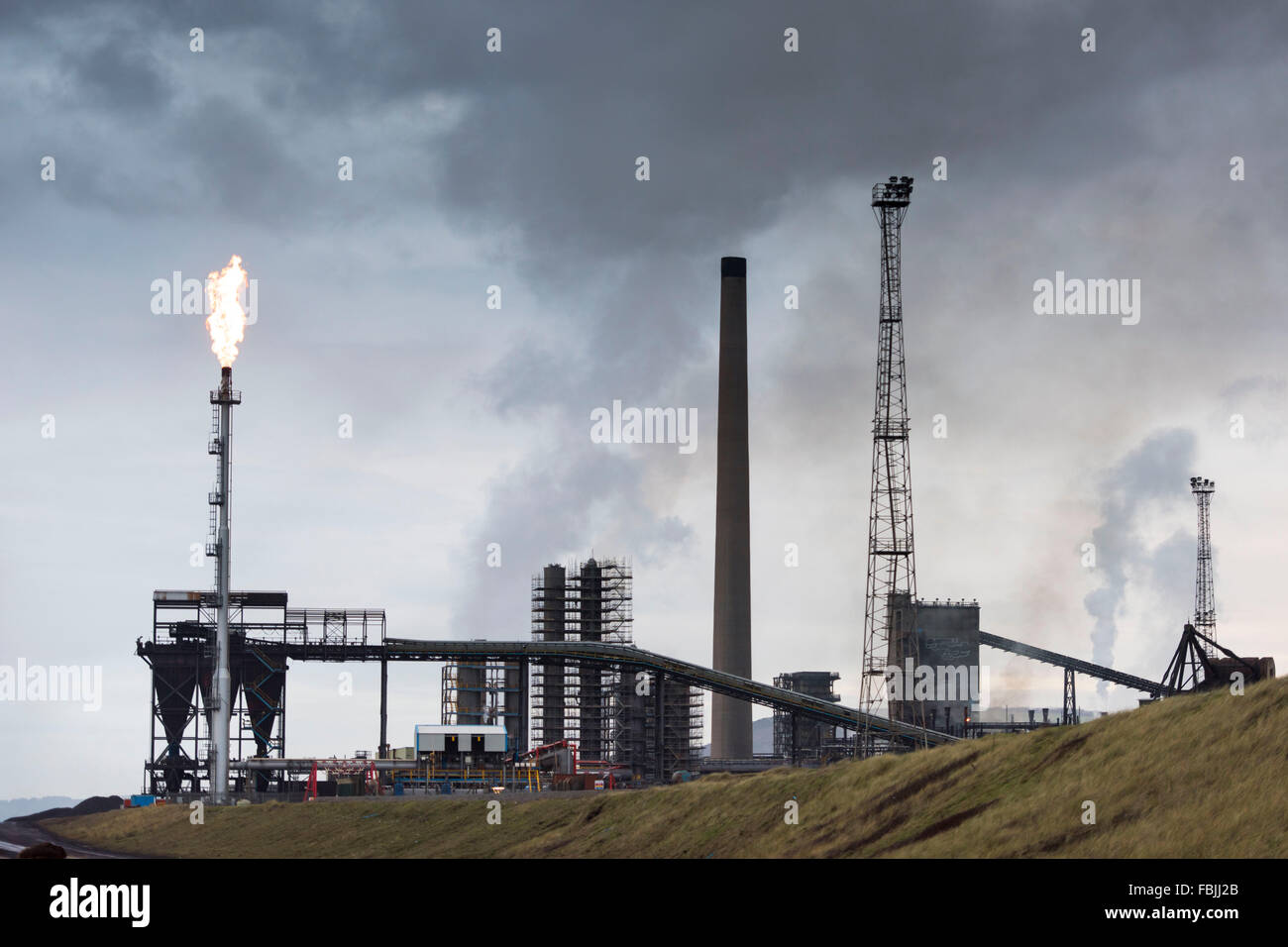Tata Steelworks in Port Talbot, South Wales. - Stock Image
