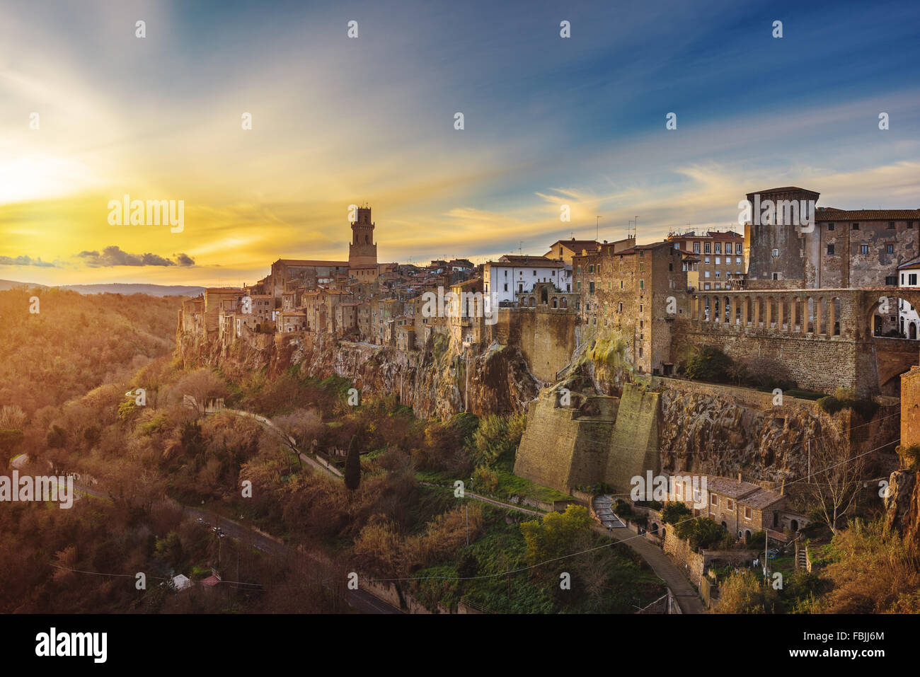 Panorama of the medieval town of Etruscan in Tuscany, Pitigliano. - Stock Image