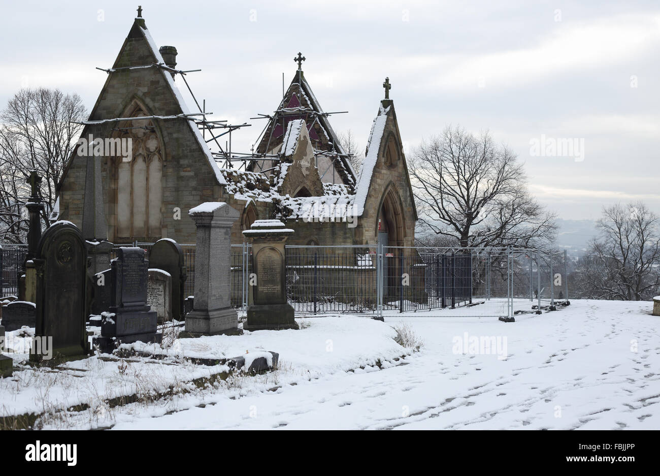 derelict chapel at Dewsbury cemetery - Stock Image
