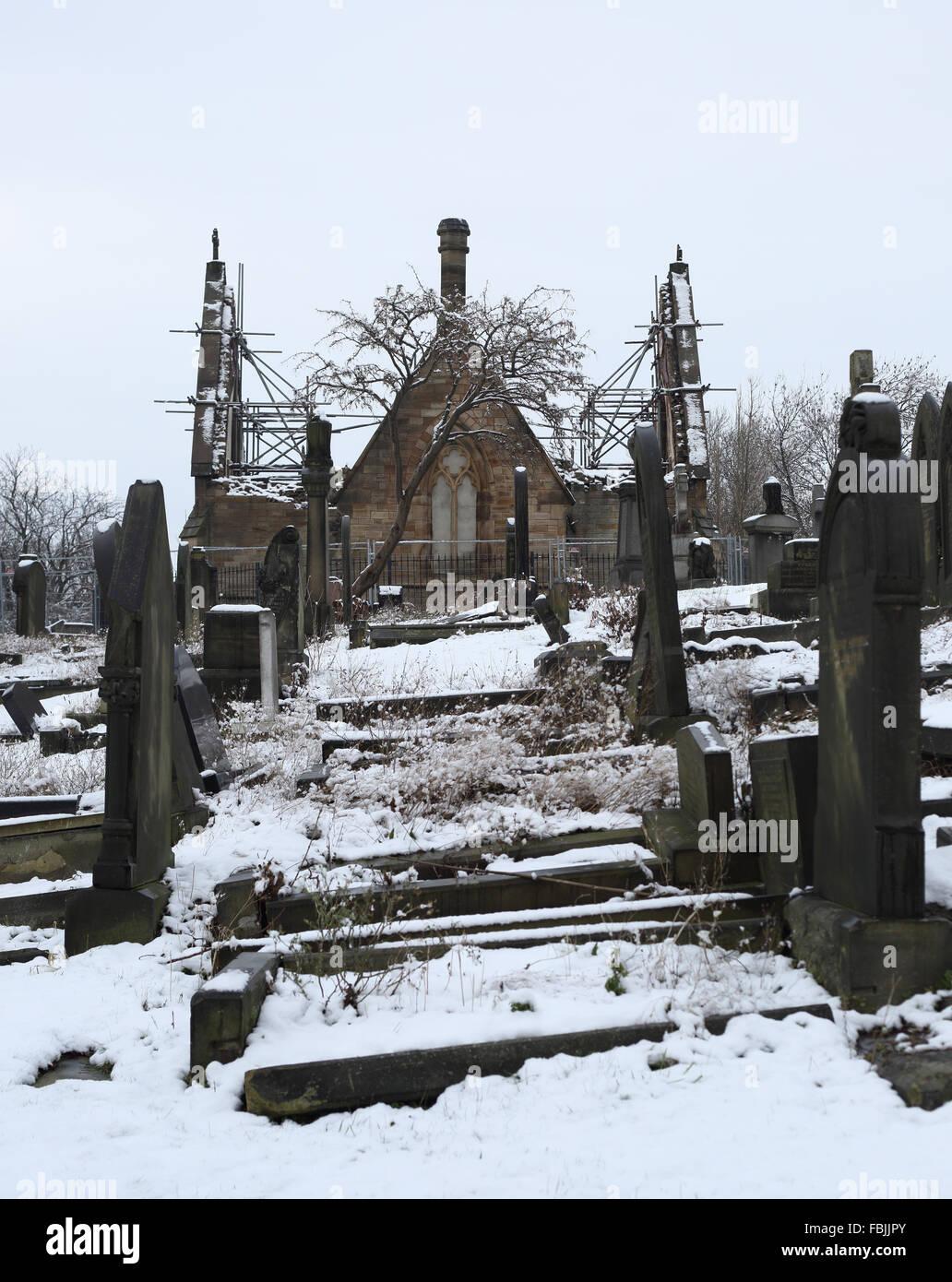 Dewsbury cemetery in winter - Stock Image