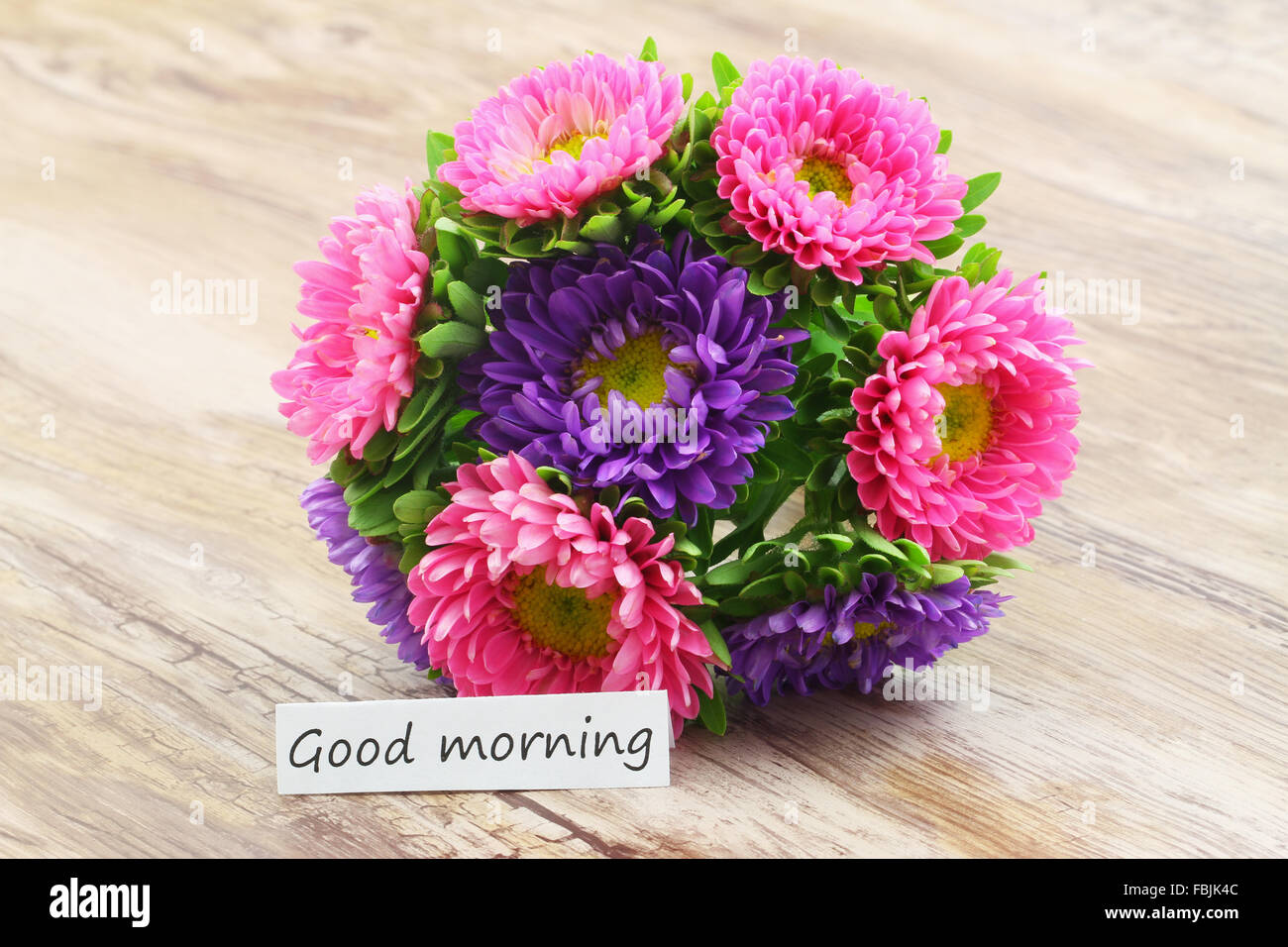 Good morning card with colorful aster flowers bouquet Stock Photo ...