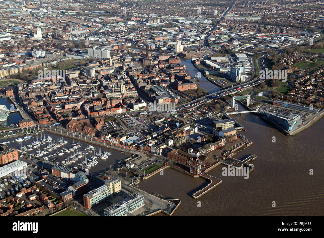 aerial view of Hull city centre, Marina, Tidal Barrier, The Deep & River Hull, UK - Stock Image