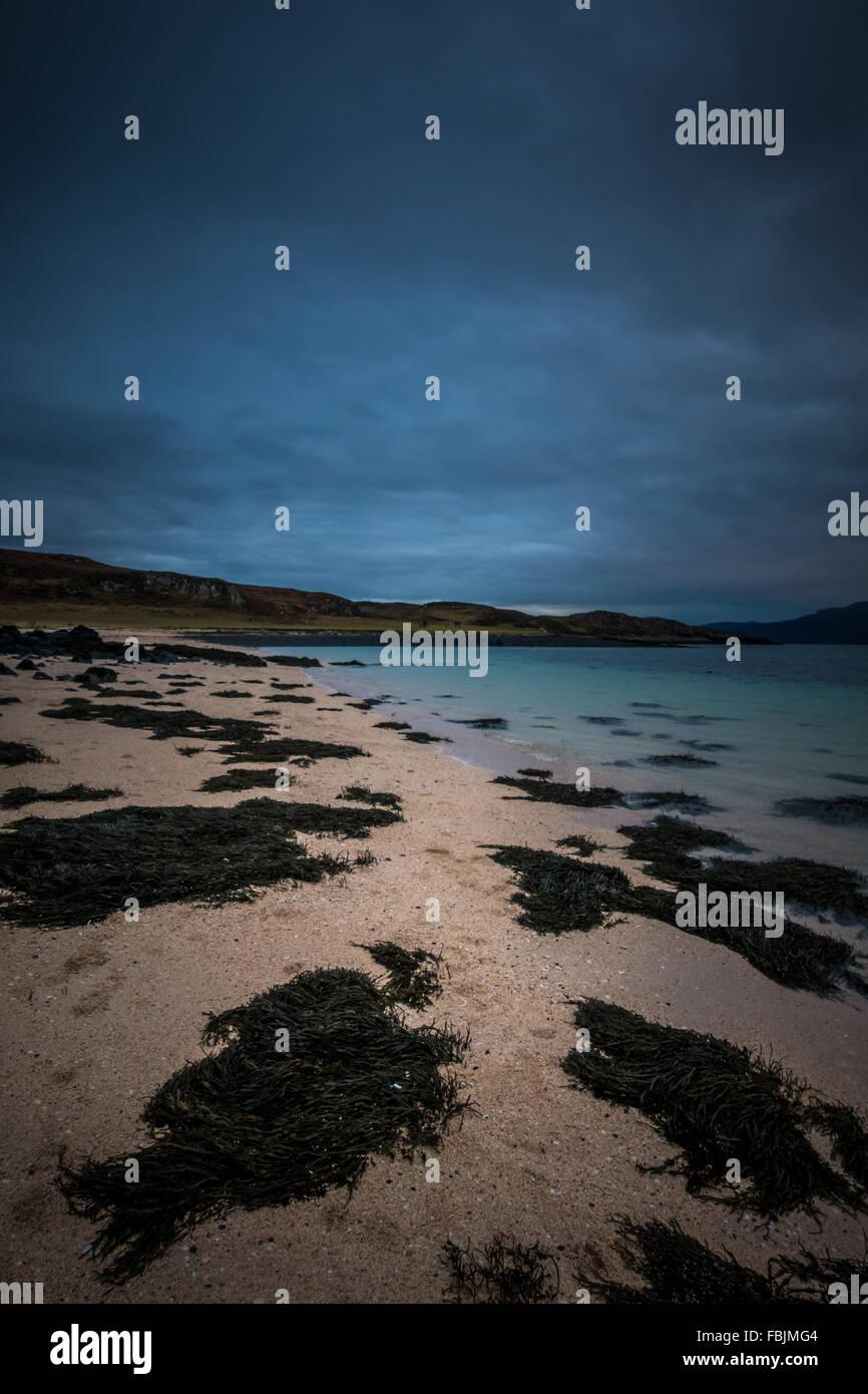 Coral Beach at sunset.  An Dorneil, Loch Dunvegan, Isle of Skye, Inner Hebrides, Scotland, United Kingdom, Europe - Stock Image