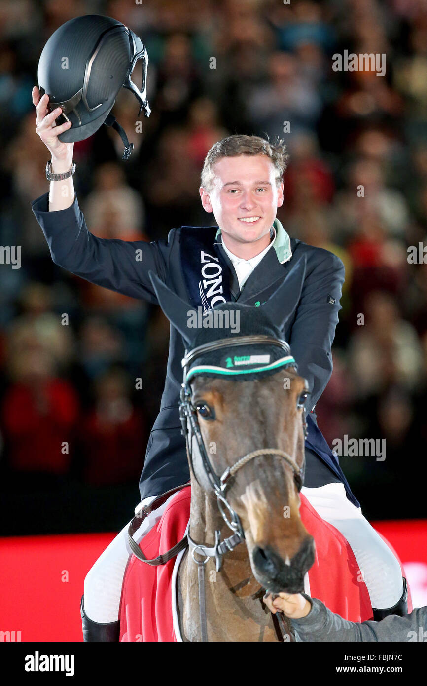 Leipzig, Germany. 17th Jan, 2016. Germany's Niklas Krieg riding Carella celebrates his win in the World Cup show Stock Photo