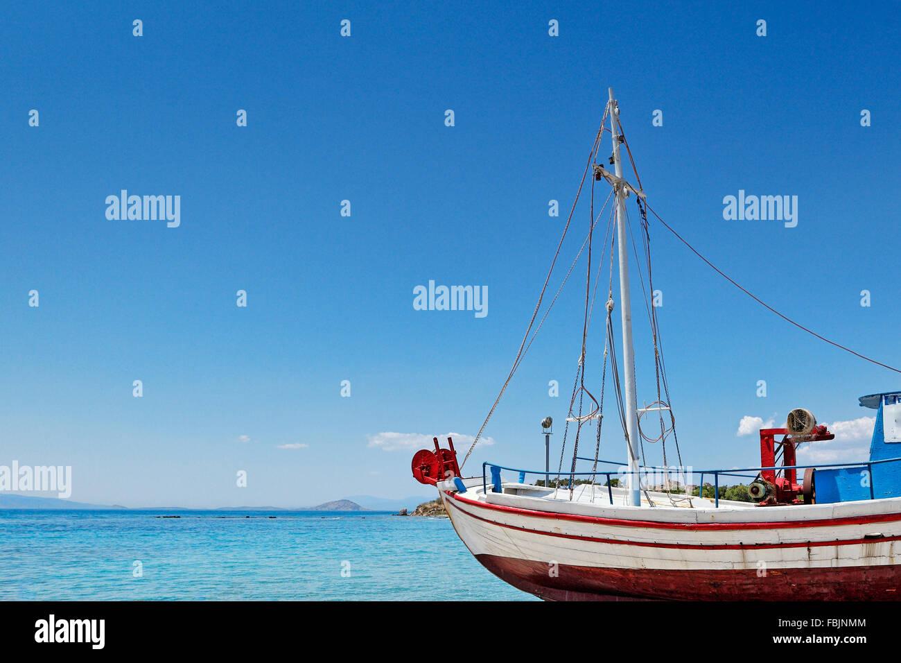 Traditional fishing boat in Aegina island, Greece - Stock Image