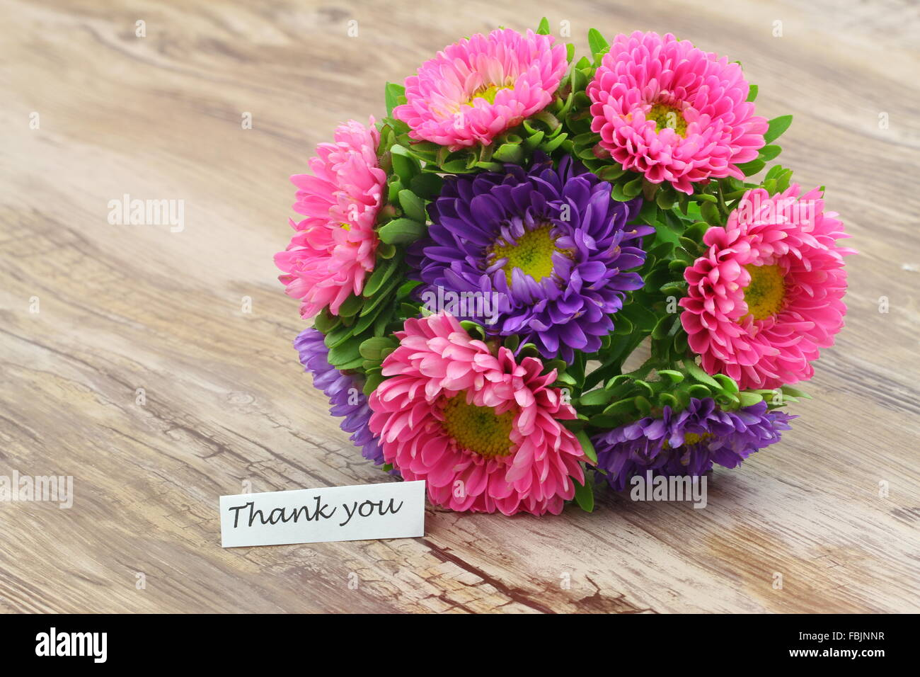 Thank you card with colorful daisy flower bouquet Stock Photo ...