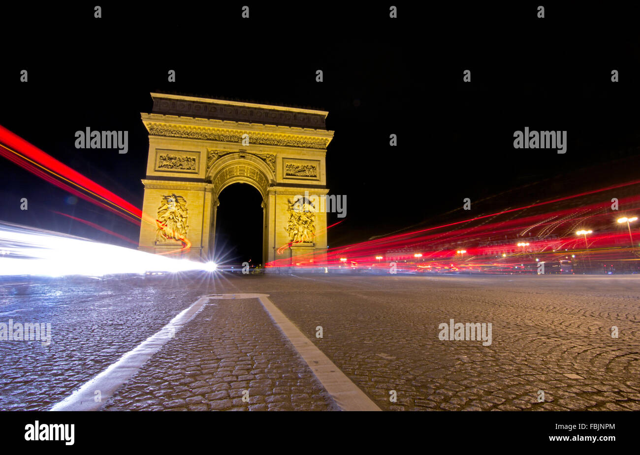 The historical Arc de Triomphe, Paris, France - Stock Image