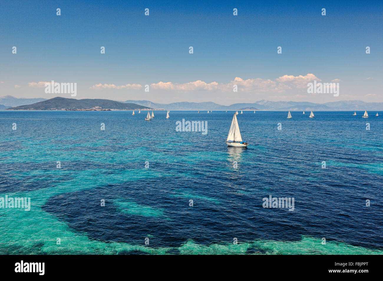Sail boats near Aegina island, Greece - Stock Image