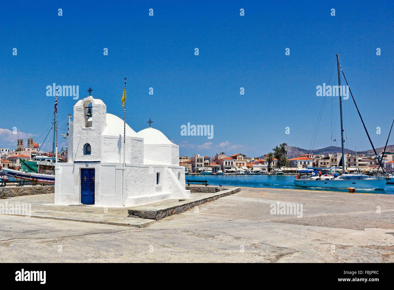 The church Agios Nikolaos in the port of Aegina island, Greece - Stock Image