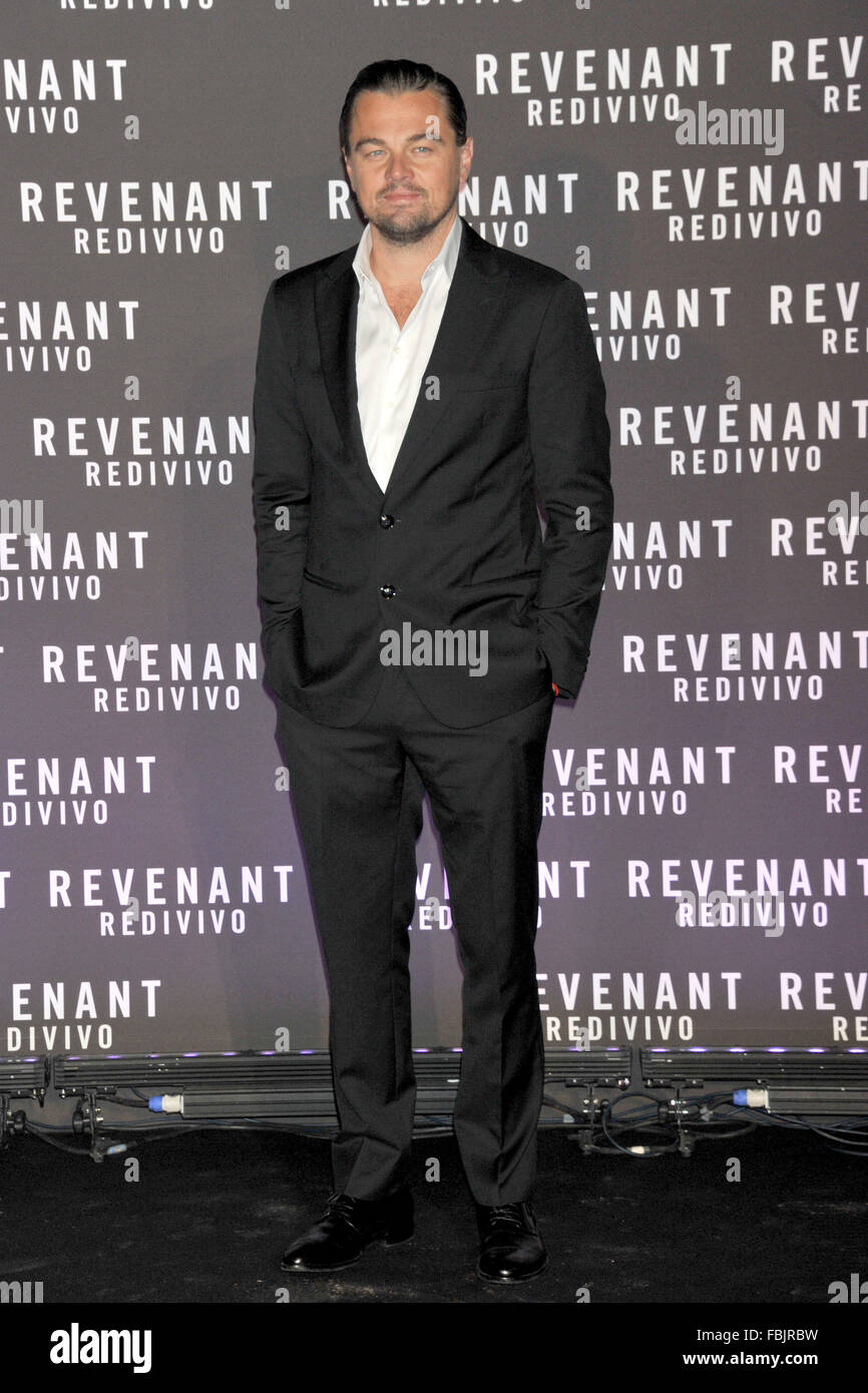 Rome, Italy. 15th Jan, 2016. Leonardo DiCaprio attending ths premiere of 'The Revenant' at Huse of Cinema in Rome Stock Photo