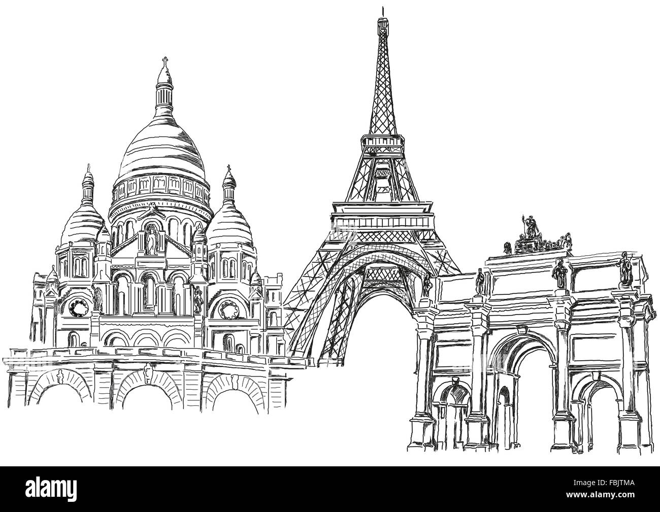 Symbol of Paris - the Eiffel Tower and other monuments - Stock Image