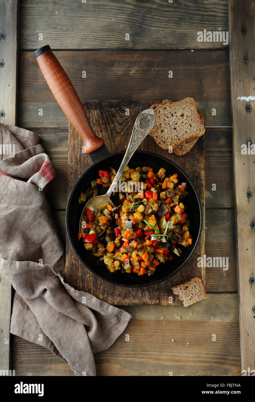 roasted summer vegetables in pan, top view Stock Photo