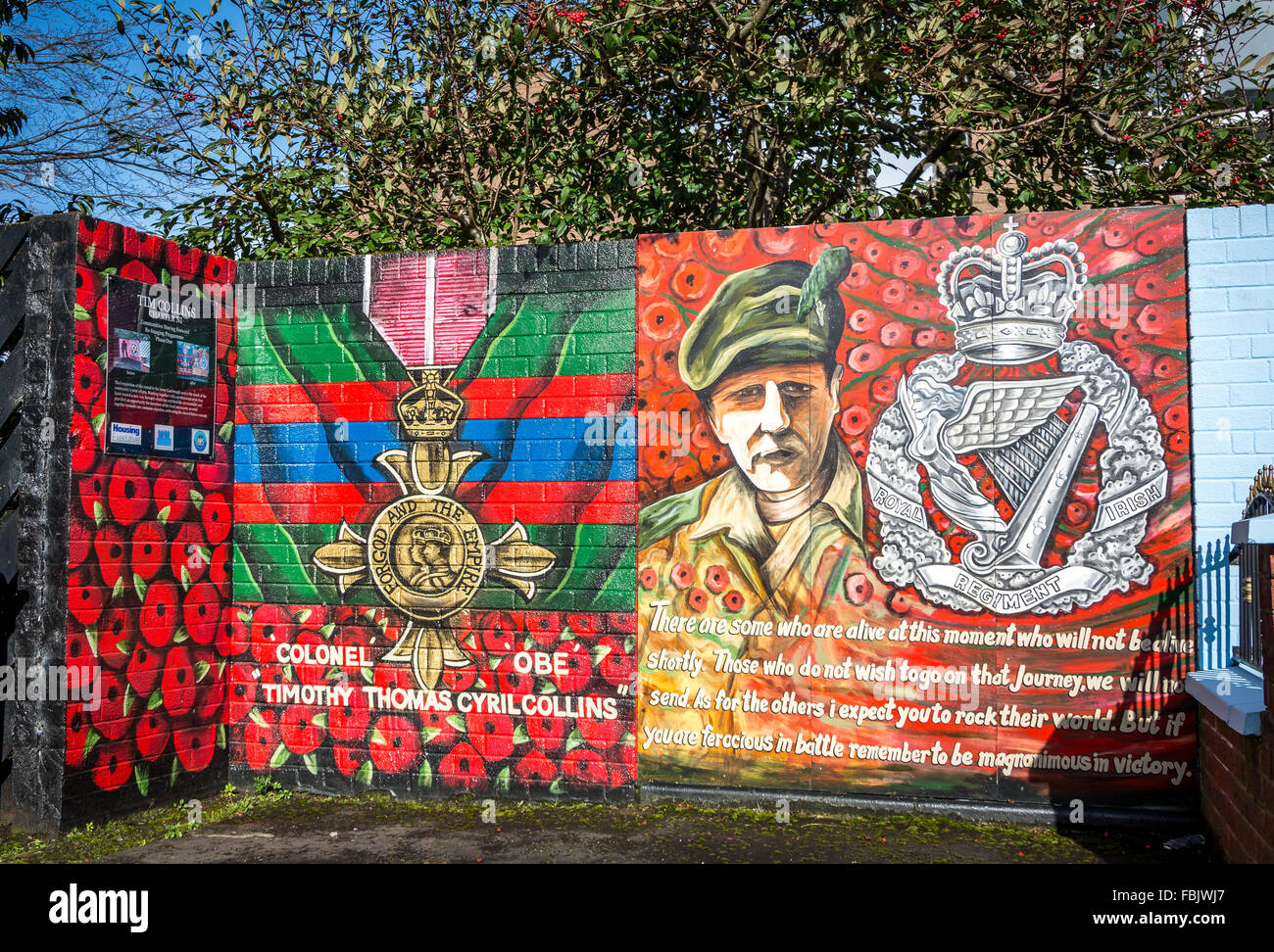 Colonel OBE Tim Collins mural in Castelreagh, East Belfast - Stock Image