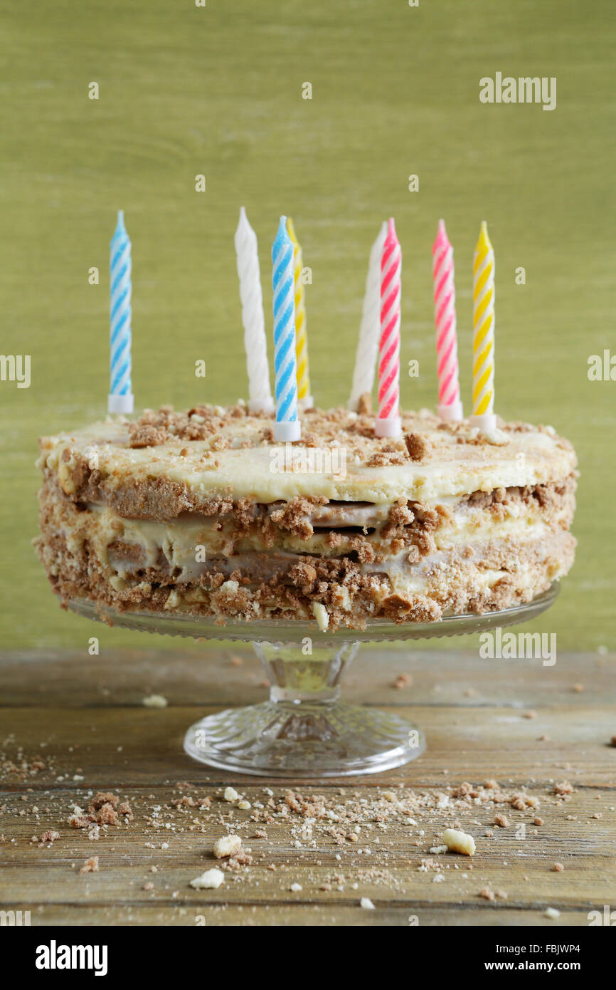 birthday cake with candles, food close-up - Stock Image
