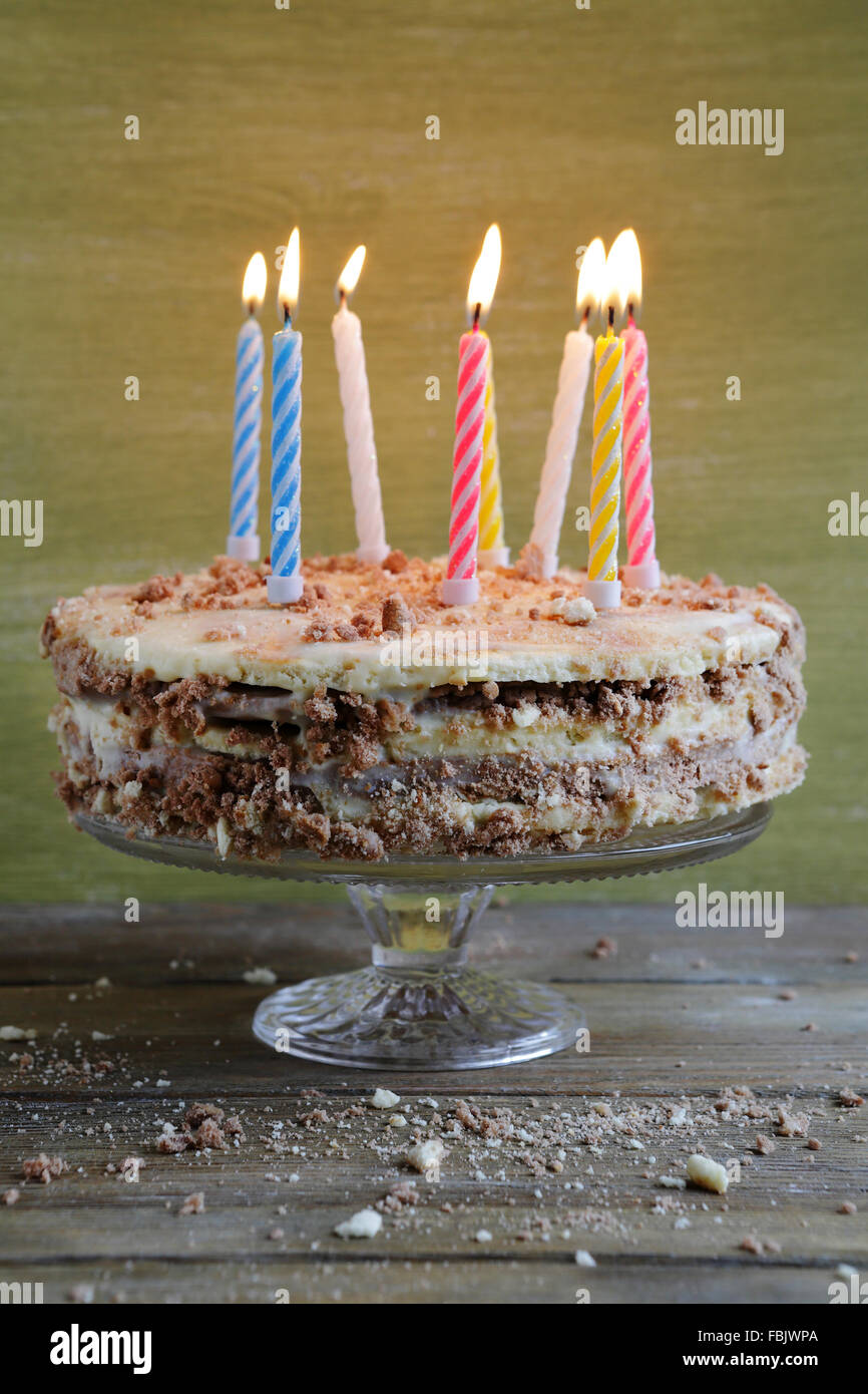 Homemade Birthday Cake With Candles Food Closeup