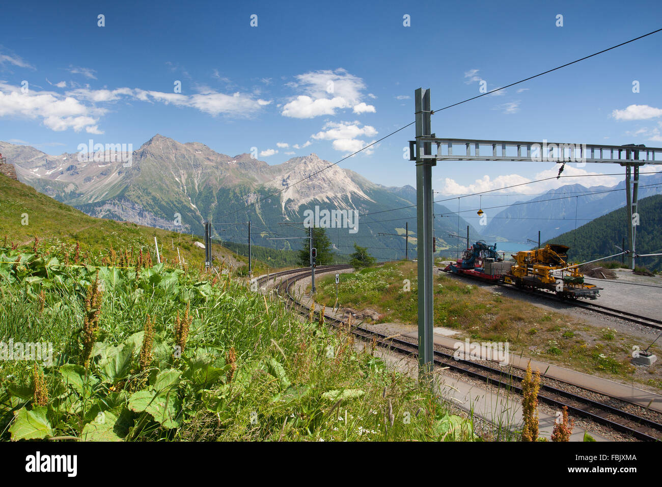 Alp Grum railway station is situated on the Bernina Railway, between Pontresina, in the Canton of Graubunden, Switzerland - Stock Image