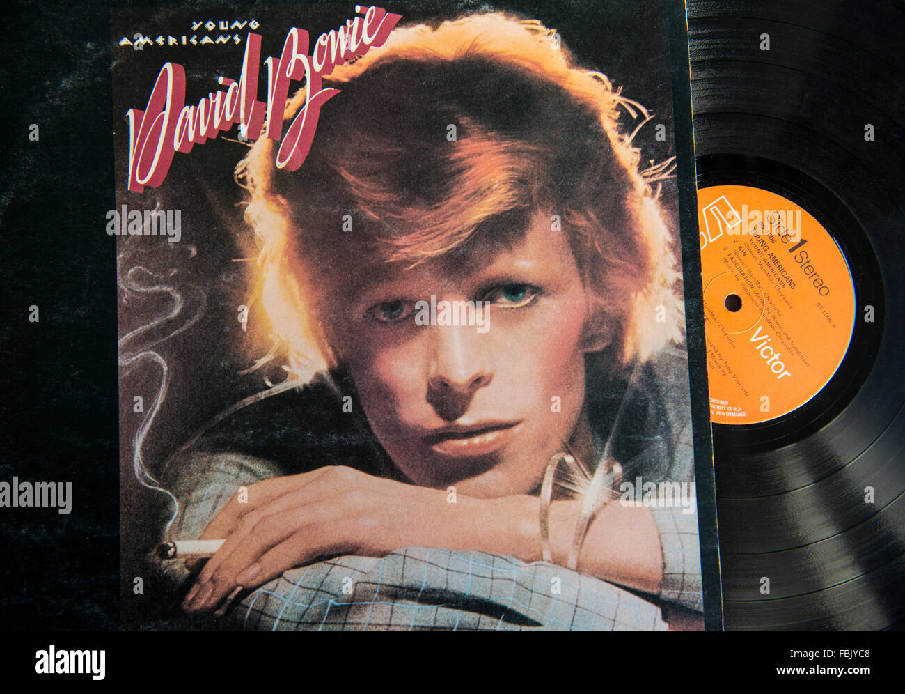 David Bowie's Young Americans album on vinyl - Stock Image