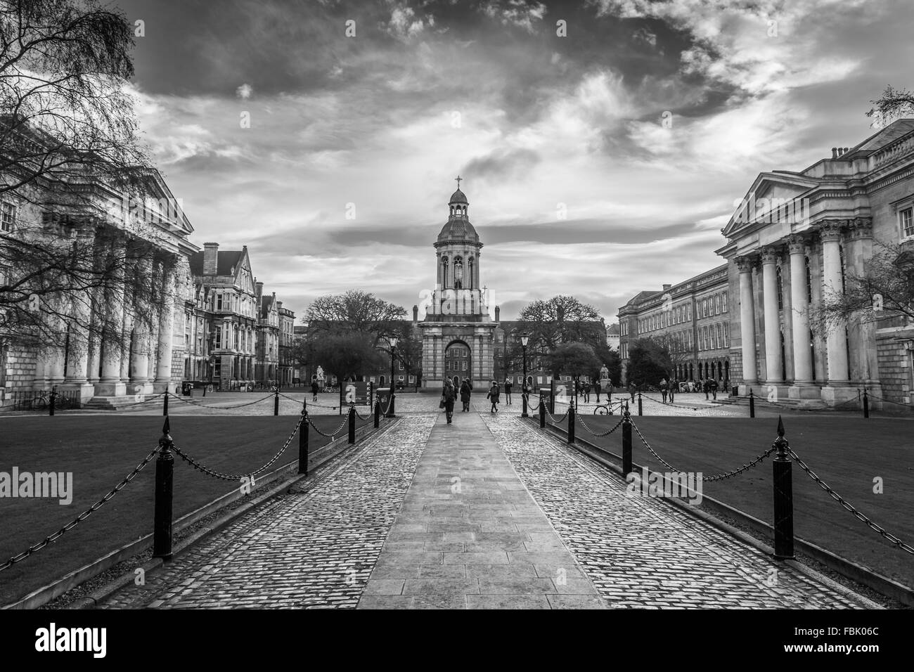 The front square of Trinity College in Dublin, Ireland in black and white. - Stock Image